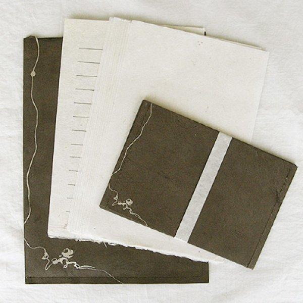 画像1: ネパール手漉紙レターセット・椿 (1)