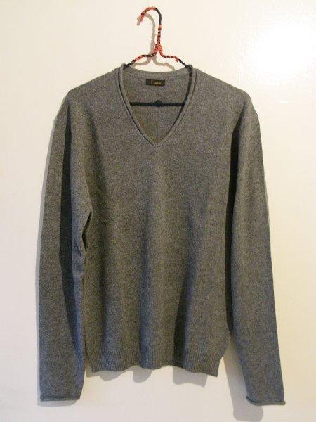 画像1: [メンズ]カシミヤ Vネックセーター・灰[XL] (1)