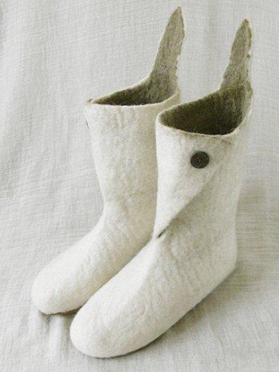 画像1: ピュアウール・フェルトルームシューズ(ロングブーツ)[白]Sサイズ